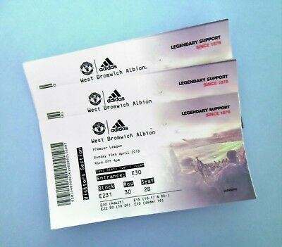 Manchester United v West Brom Albion Football Tickets / Ticket Stub(s) 15/04/18
