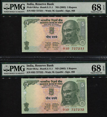 TT PK 88Aa ND (2002) INDIA 5 RUPEES PMG 68 EPQ SUPERB SEQ NUMBERED SET OF TWO!