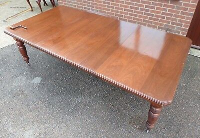 Victorian Arts & Crafts antique solid mahogany extending dining table seat 12