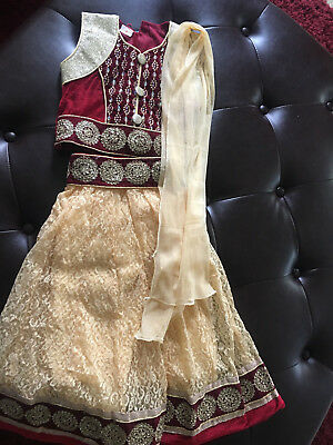 New Kids India Ivory/Burgundy Net Lehenga Choli with Sequins Work & Lace