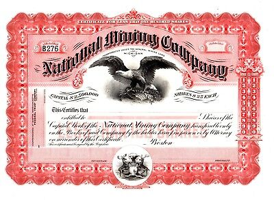The National Mining Company of Michigan ca 1914 Stock Certificate