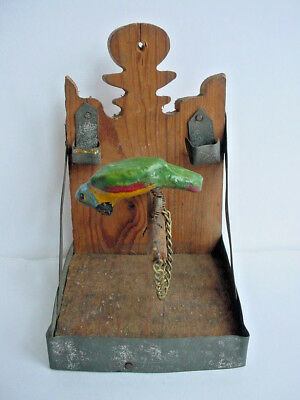 Antique Bobbing Parrot on Perch German Tin Wood Penny Toy