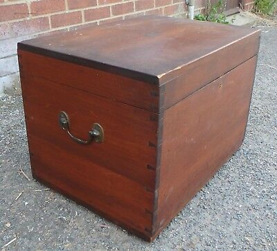 Victorian antique military camphor brass mount campaign trunk coffer tool chest