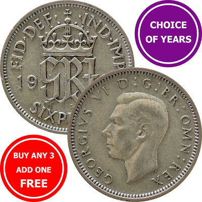 Sixpence : 1947-1952 George VI : Lucky Birthday Wedding 6d Coin : Choose Year