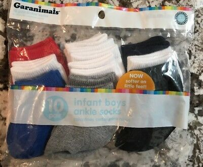 Nwt Baby Boy 10 Pair Pack Of Ankle Socks Size 0-6 Months