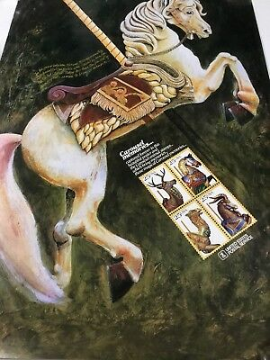 USPS Post Office Stamp Poster Carousel Horse 1988