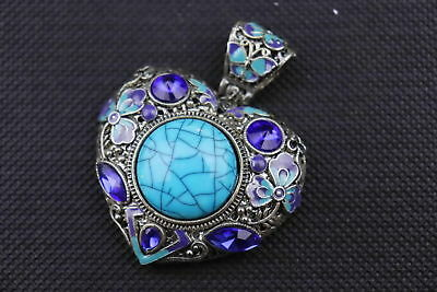 Old Miao Silver Armoured Turquoise Carve Blooming Flower Noble Exquisite Pendant