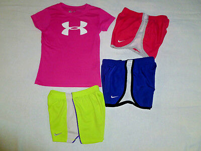 Lot of 4~Girl's Nike & Under Armour Shorts & Tee Size 5-6x