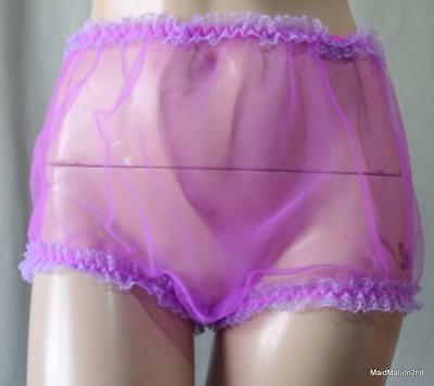 VINTAGE STYLE SEE-THROUGH MAUVE NYLON LACE TRIM PANTIES KNICKERS Med