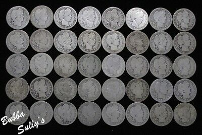 Roll of Assorted Date/Mintmark Barber Quarters <> All Circulated