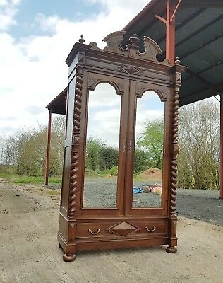 Beautiful French Carved Barly Twist Armoire / Wardrobe With Two Mirrored Doors