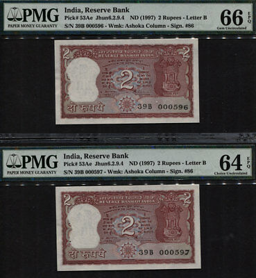 TT PK 53Ae 1997 INDIA RESERVE BANK 2 RUPEES SEQUENTIAL SET 596, 597 PMG 66 EPQ!