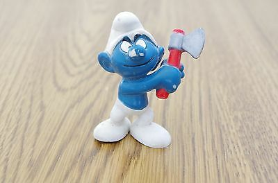 Vintage PVC Woodcutter Smurf with Axe