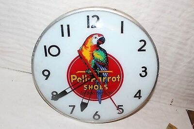 "Rare Vintage 1950's Poll-Parrot Shoes 15"" Lighted Metal Clock Gas Oil Sign~Nice"