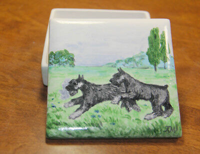 Double Trouble, two schnauzers at play, OOAK artist ceramic. Tatiana Myers