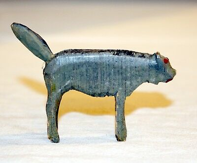 Miniature Wooden Gray Cat. Late 1890s folk art hand-carved animal. USA