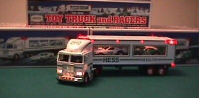 Hess 1997 Toy Truck and Racers with Friction Motors New in original box