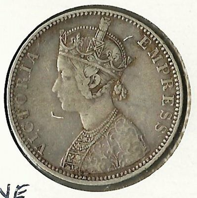 India 1890 One Rupee Silver Coin
