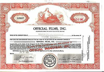stock certificate Official Films, Inc. (now Official Industries) 1972