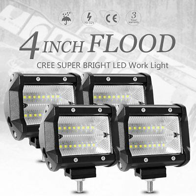 "4pcs 48W 4"" inch Work Lights CREE Flood LED Light Bar Reverse 4WD 12V 24V"