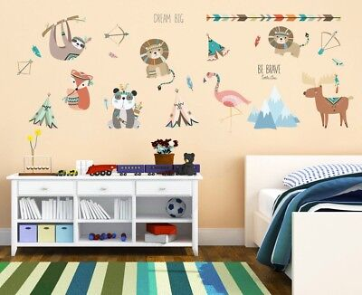 Wall stickers animals zoo lion panda fox Decor Removable Nursery Kids Baby