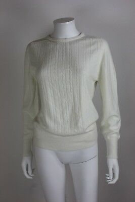 Vintage CHRISTIAN DIOR Cable Knit Fisherman Sweater Off White size M