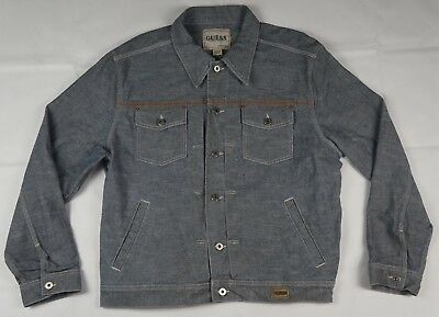 Rare Vintage Guess Spell Out Jeans Denim Jacket 90s Marciano Grayish