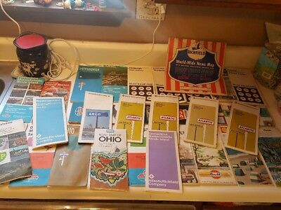 Vintage GAS STATION ROAD MAPS LOT OF 25+ ~ RICHFIELD SHELL BP MOBIL GULF & MORE