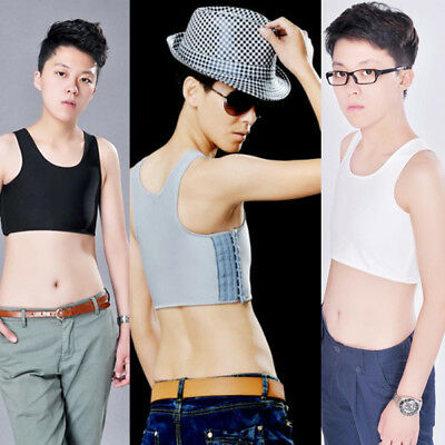 Tomboy Crop Vest Lesbian Slim Fit Chest Breast Binder Bra Tank Top Crop Top S-XL