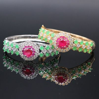 Ruby Emerald Rhinestone 18k Gold Plated Women Bride Jewelry Bracelet Bangle