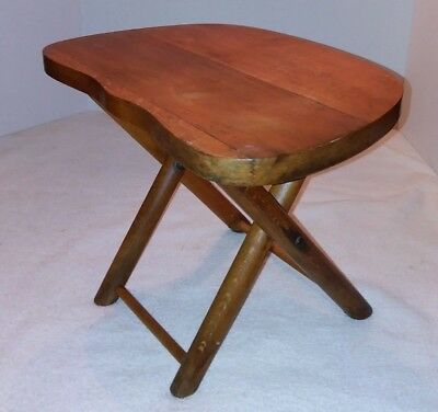 Nevco 1950's Maple Wood Folding Travel Camping Milking Stool Yugoslavia Vtg  #43