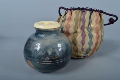 J9936: Japanese Seto-ware Blue glaze TEA CADDY Chaire Container High class lid