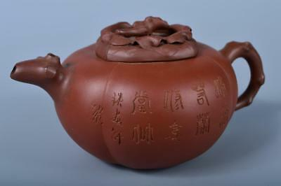 J8842: XF Chinese Brown pottery Poetry sculpture Persimmon-shaped TEAPOT Sencha