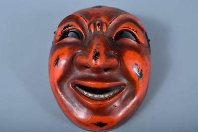 J8854: Japanese Old Dry lacquer MASK Human face Ornaments Display Noh Kyogen