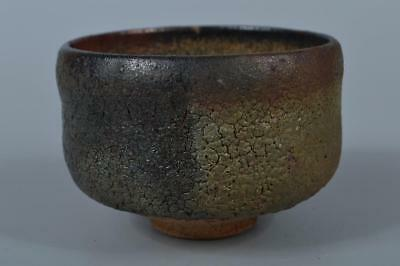 K7705: Japanese Old Raku-ware Black glaze TEA BOWL Green tea tool, Tea Ceremony