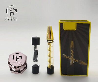 3 in 1 Pipe Twisty Glass Blunt (Gold) with FREE 3 Peice mini Herb Grinder.