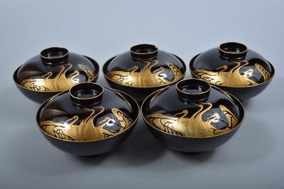 K7057: Japanese Wooden Bird gold lacquer pattern SOUP BOWL/dish 5pcs