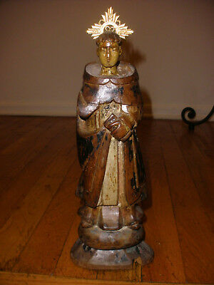 Antique 18/19thc Spanish colonial Santos St Anthony wood hand carved figure