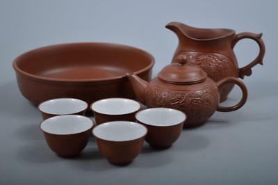 K7052: Chinese Brown pottery Dragon Chicken sculpture TEAPOT YUSAMASHI CUPS