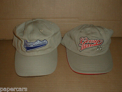 George Strait Tour Hat Cap Mens NEW 2 Lot RARE Made in USA Khaki country music