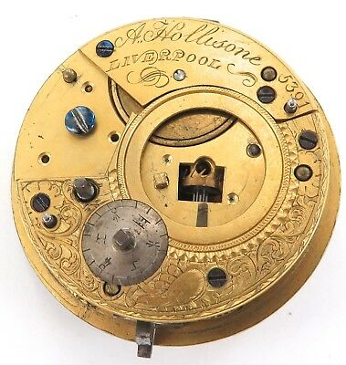 EARLY 1800s A HOLLISONE, LIVERPOOL VERGE FUSEE POCKET WATCH MOVEMENT.