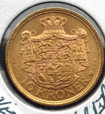 1909 Denmark 10 Kroner Gold .1296 ASW KM # 809 109 Year Old Coin AU