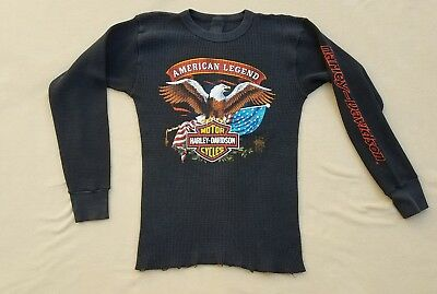 Vtg 1985 Freedom Harley Davidson 3D Emblem Thermal t-shirt Made in USA XL 80s