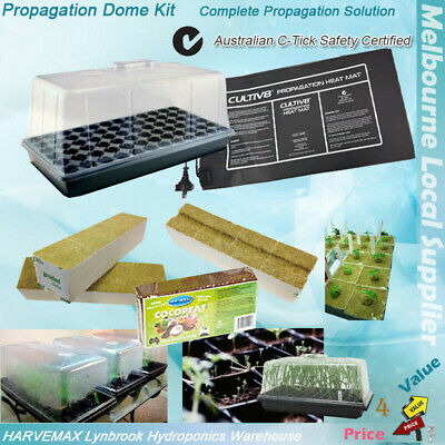 Hydroponics Propagation Kit Seedling Tray Cloning Dome Heat Mat Coco Rockwool