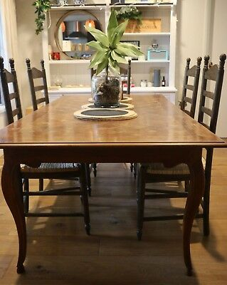 Antique French Oak Kitchen Dining Table with Parquetry Top