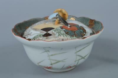 K8021:Japanese Old Kutani-ware Bird Flower pattern DESSERT BOWL/dish with a lid