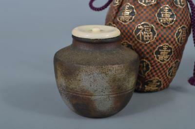 K8014: Japanese Bizen-ware TEA CADDY Chaire Container with High class lid