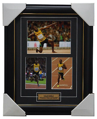 Usain Bolt Signed Jamaica Athletics Photo Collage Print Framed Olympic Champion