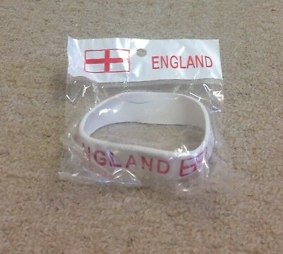 World Cup Supporters Rubber Wrist Band White with Red writing NEW