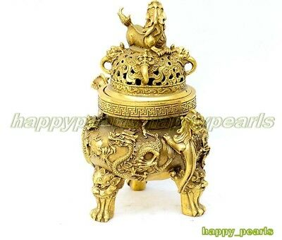Ancient Bronze Gilt Dragon Foo Dog Lion Beast Statue Incense Burner Censer